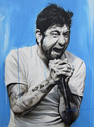 Celebrities Painting Metal Prints - Chino Moreno Metal Print by Christian Chapman Art