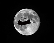 Helicopter Digital Art Prints - Chinook Moon B and W Print by Al Powell Photography USA