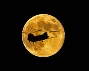 Helicopter Digital Art - Chinook Moon Color by Al Powell Photography USA