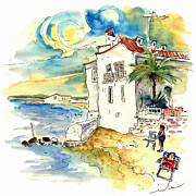 Atlantic Beaches Drawings Prints - Chipiona Spain 03 Print by Miki De Goodaboom
