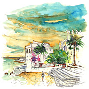 Atlantic Beaches Drawings Posters - Chipiona Spain 04 Poster by Miki De Goodaboom