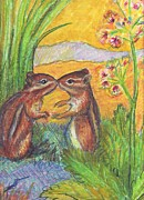 Chipmunks Paintings - chipmunks in Spring by Susan  Brown  Slizys artist name