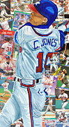 Major League Baseball Mixed Media Framed Prints - Chipper Jones 14 Framed Print by Michael Lee