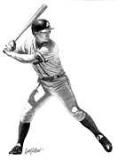Mlb Drawings Prints - Chipper Jones Print by Harry West