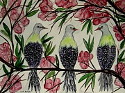 Starlings Painting Framed Prints - Chirping About Spring Framed Print by Lisa Aerts