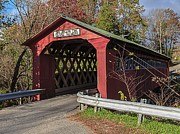 Vermont Fall Foliage Framed Prints - Chiselville Covered Bridge Framed Print by Edward Fielding