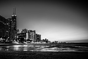 Chicago Skyline Bw Metal Prints - Chitown At Dusk Metal Print by Jonathan Schwartz