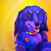 Purple Heart Painting Posters - Chloe Poster by Debi Pople