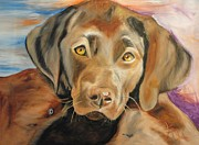 Painterartistfin Posters - Chocolat labrador puppy Poster by PainterArtist FIN