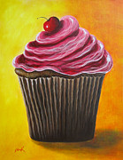 Celebration Art Print Painting Framed Prints - Chocolate Banana Cupcake by Shawna Erback Framed Print by Shawna Erback