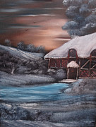 Christmas Card Originals - Chocolate Box Cottage by Cynthia Adams