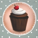 Cherry Art Posters - Chocolate Cherry Chip Cupcake Poster by Catherine Holman