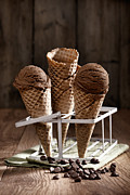 Ice Cream Cornet Prints - Chocolate Chip Ice Creams Print by Christopher and Amanda Elwell