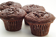 Delicious Digital Art Prints - Chocolate Chocolate Chip Muffins - Bakery - Breakfast Print by Andee Photography