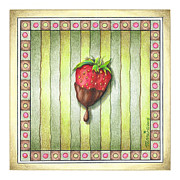 Strawberry Drawings Posters - Chocolate Covered Strawberry Poster by Pop Art Diva