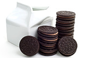 Oreos Prints - Chocolate Cream Oreos And Milk Print by Andee Photography