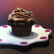Cupcake Paintings - Chocolate Cupcake by Cristine Kossow