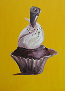Kisses Paintings - Chocolate Cupcake by Susan Richardson