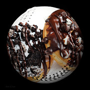 League Mixed Media Prints - Chocolate Donuts Baseball Square Print by Andee Photography