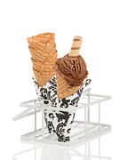 Ice Cream Cornet Prints - Chocolate Ice Cream Print by Christopher and Amanda Elwell