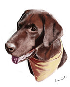 Chocolate Lab Digital Art Posters - Chocolate Lab Poster by Eric Smith