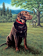 Best Friend Posters - Chocolate Lab Poster by Richard De Wolfe