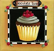 Frosting Painting Prints - Chocolate Pecan Cupcake Print by Catherine Holman