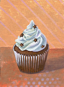 Black Diet Paintings - Chocolate Stars Cupcake by Marco Sivieri