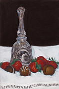 Table Cloth Pastels Metal Prints - Chocolates and Strawberries Metal Print by Flo Hayes