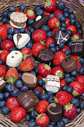 Blueberry Prints - Chocolates and Strawberries Print by Tim Gainey