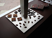Pralines Posters - Chocolatier - French Chocolate Shop Window Display Poster by Menega Sabidussi