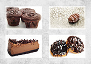Milk Mixed Media Prints - Choice Of Chocolate 4 x 4 Collage 1 - Bakery Sweets Shoppe Print by Andee Photography