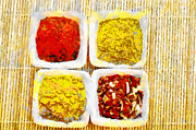 Selection Painting Prints - Choice of spices on mat above view painting Print by Magomed Magomedagaev