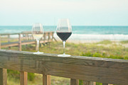 Wine Glasses Posters - Choices at the Beach Poster by Kay Pickens