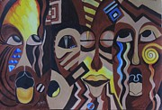 Jamaican Art Paintings - Choir of Masks by Sharon Fox-Mould