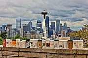 Seattle Skyline Framed Prints - Choose Your Brew Framed Print by Benjamin Yeager