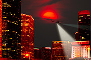 Crime Fighting Posters - Chopper Over Houston-Oil Poster by Paul Wolf