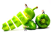 Fresh Food Digital Art Prints - Chopping green peppers Little People Big Worlds Print by Paul Ge