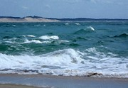 Choppy Digital Art - Choppy Sea at Cap Ferret by John Tidball