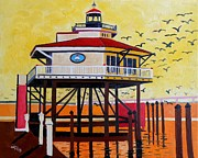 Choptank River Lighthouse Print by Lesley Giles