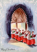 Cards Vintage Framed Prints - Choral Singing Framed Print by Munir Alawi