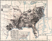 Old Map Paintings - Choropleth Map of US Slavery 1860 by MotionAge Art and Design - Ahmet Asar