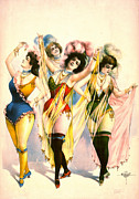 Color Lithographs Photo Acrylic Prints - Chorus Girls 1899 Acrylic Print by Padre Art