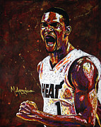 Basketball Painting Prints - Chris Bosh Print by Maria Arango