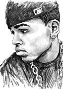 Signed Mixed Media Posters - Chris brown art drawing sketch portrait Poster by Kim Wang