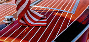 Teak Prints - Chris Craft with American Flag Print by Michelle Calkins
