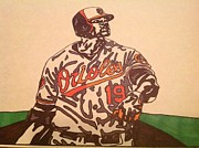 Baseball Art Drawings Framed Prints - Chris Davis Framed Print by Jeremiah Colley