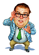 Exaggerart Painting Framed Prints - Chris Farley as Matt Foley Framed Print by Art
