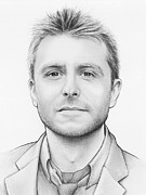 White  Drawings Framed Prints - Chris Hardwick Framed Print by Olga Shvartsur