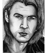 Thor Drawings Metal Prints - Chris Hemsworth Metal Print by Claudia Gonzalez